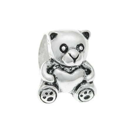 Sterling Silver Chicago Bears Charm - Queenberry  Sterling Silver Teddy Bear Heart European Bead Charm Fits Pandora