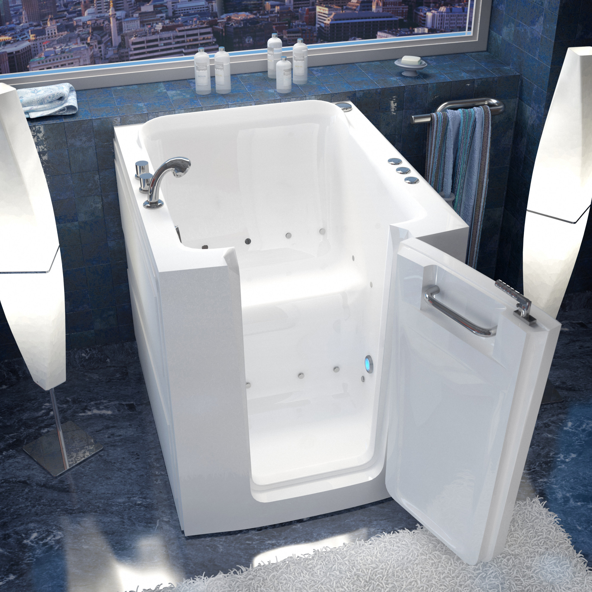 "Avano AV3238RA Walk-In Tubs 37.25"" Acrylic Air Bathtub for Alcove Installations with Right Drain, Roman Tub Faucet & Handshower"