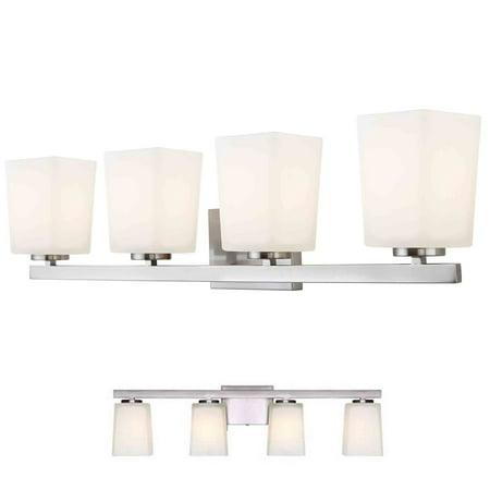 Large Four Light Vanity - Brushed Nickel Vanity 4 Light Fixture Bathroom Bath Bar Flat Opal Glass Globes