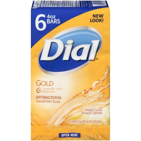 Dial Antibacterial Deodorant Bar Soap, Gold, 4 Ounce Bars, 6 Count