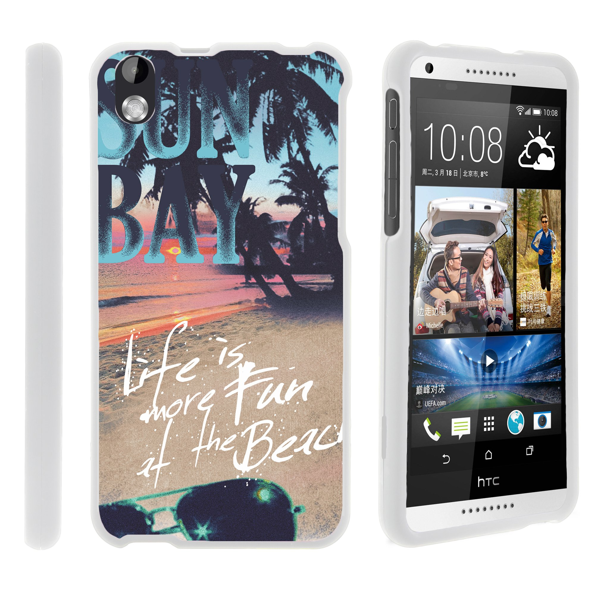 HTC Desire 816, [SNAP SHELL][White] Hard White Plastic Case with Non Slip Matte Coating with Custom Designs - Life at the Beach