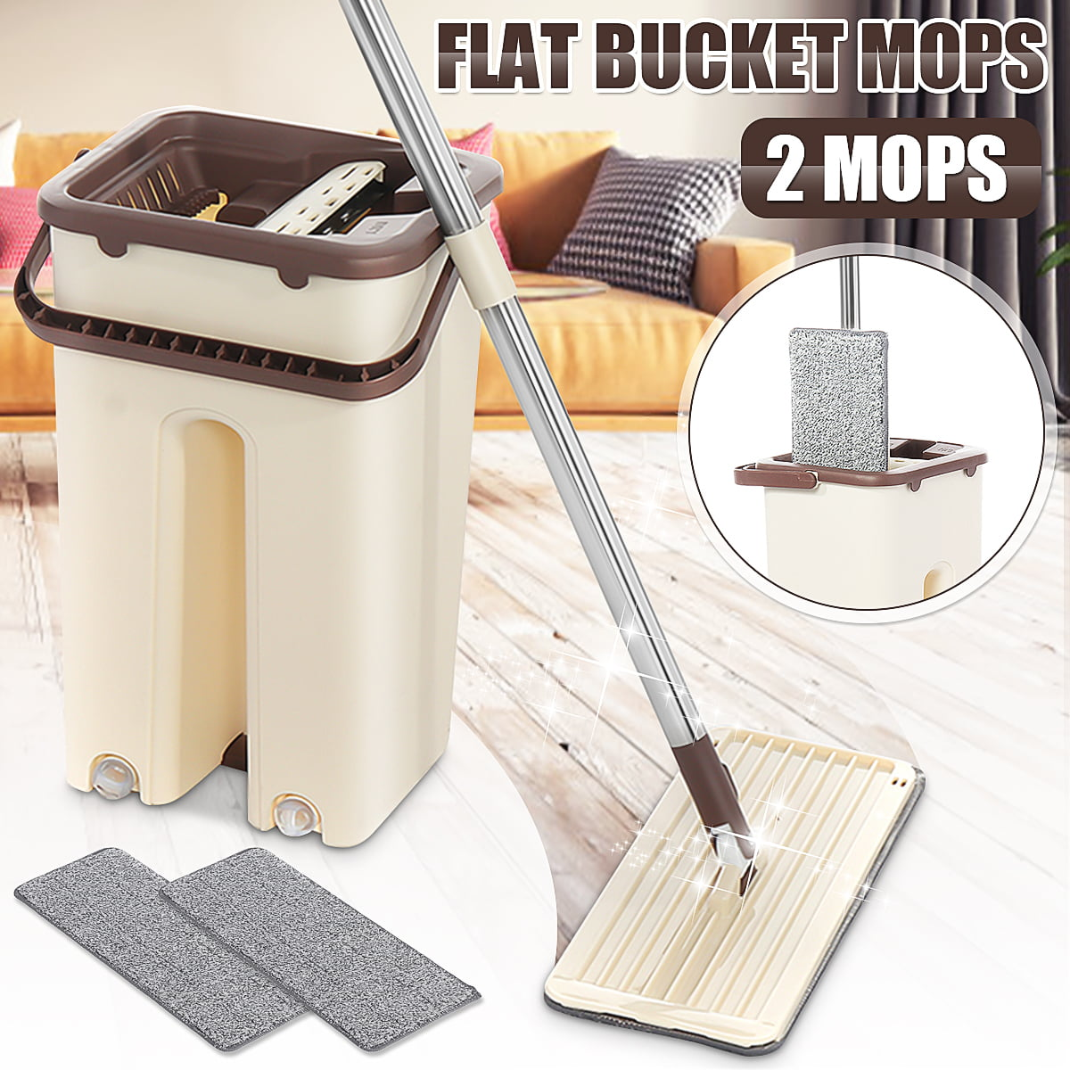 Eyliden Squeeze Flat Mop Bucket Set Can Wash and Dry Mop with 2 Reusable Microfiber Pads Wet and Dry Usage on All Kinds of Floor