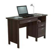 Inval Laminate Office Desk with 2-drawers and Open Storage, Espresso