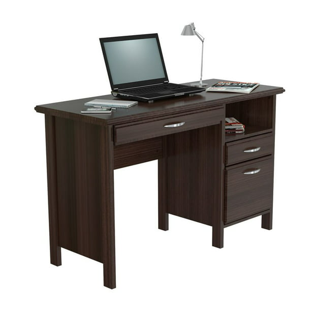 Inval Laminate Office Desk With 2 Drawers And Open Storage Espresso Walmart Com Walmart Com