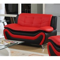 Frady Black and Red Faux Leather Modern Loveseat