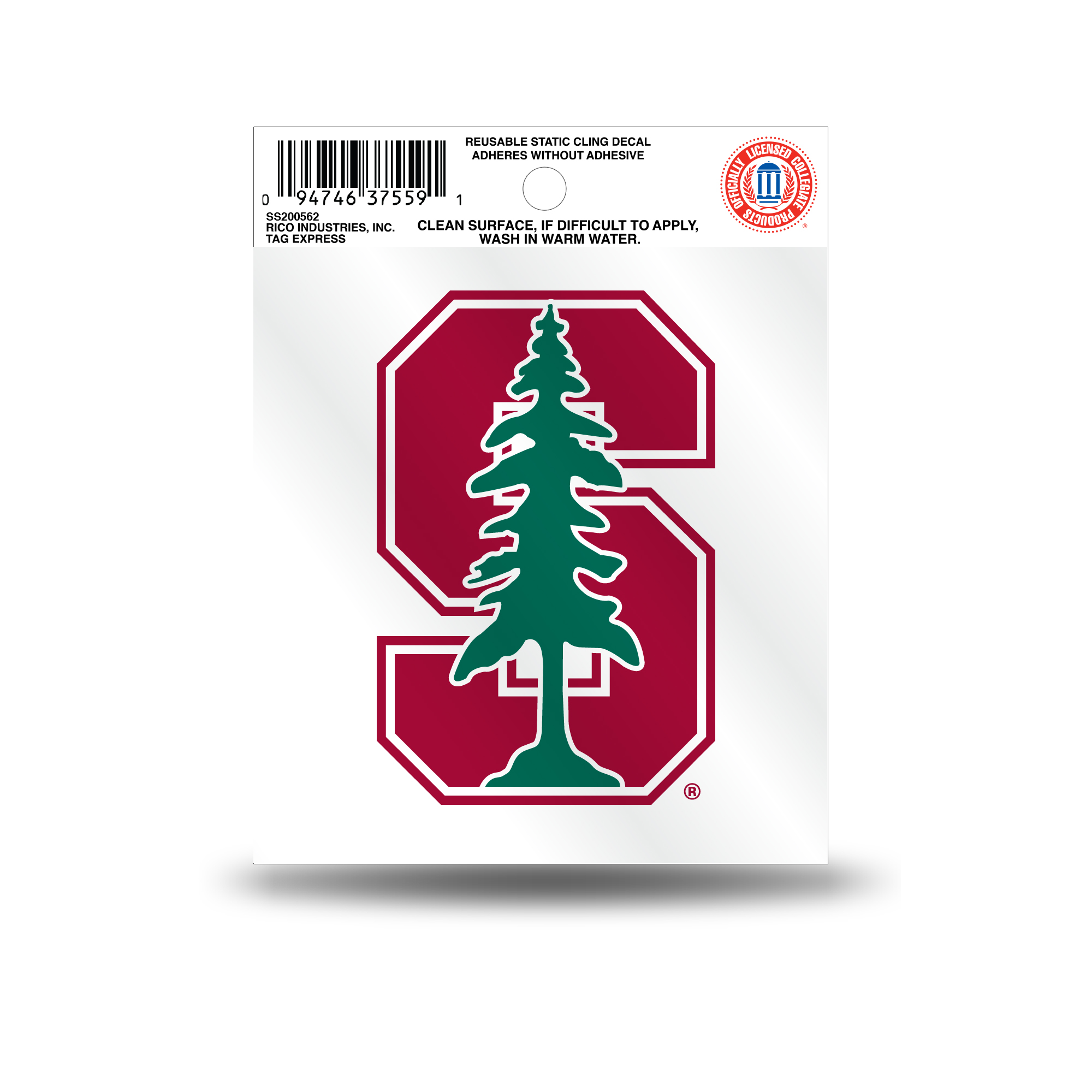 Stanford Cardinal Official NCAA 3.5 inch  Small Static Cling Window Car Decal by Rico