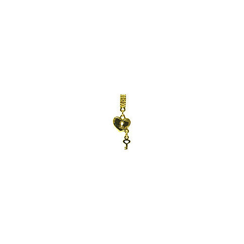 Janlynn Heart Lock Dangle Gold Charm