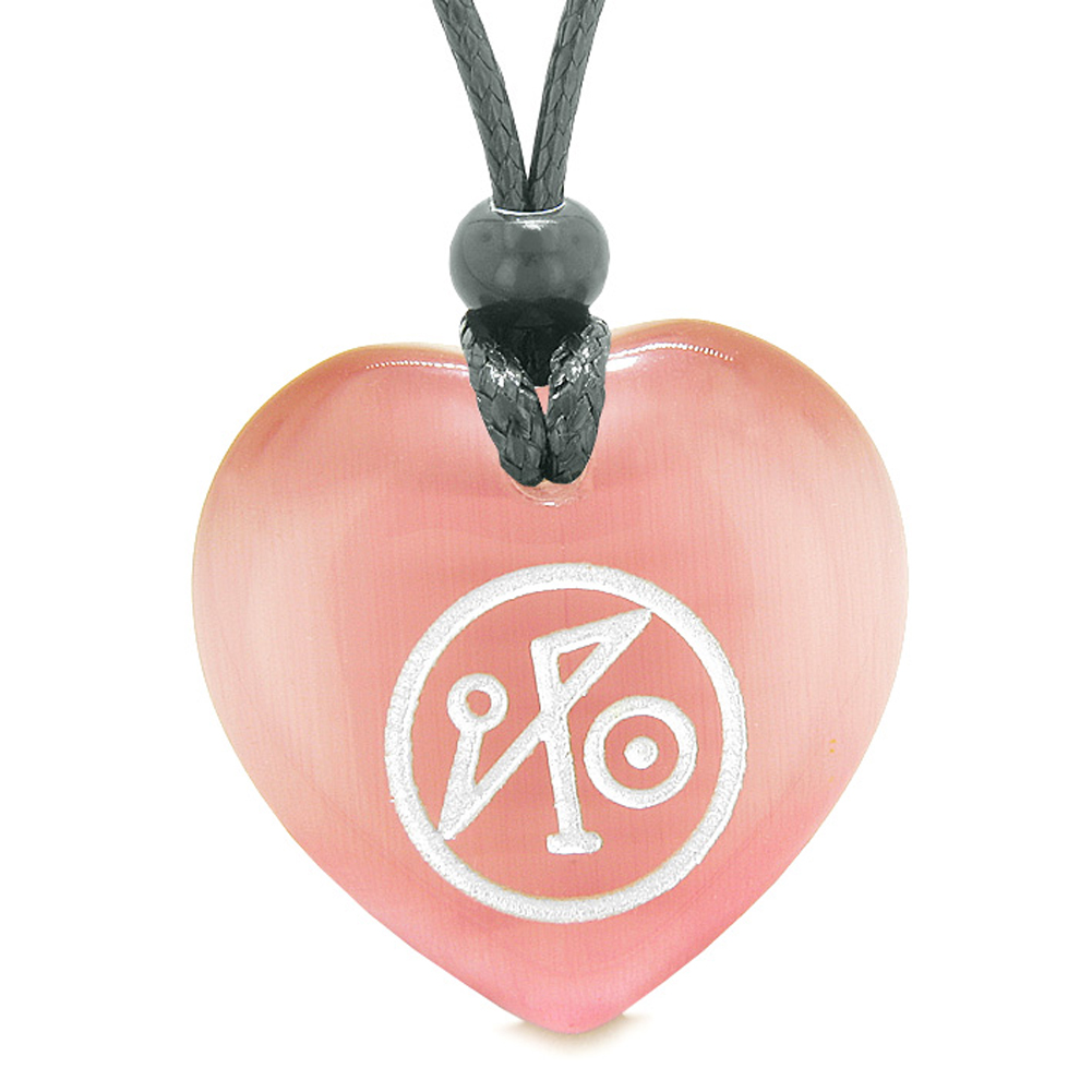 Archangel Michael Sigil Magic Planet Energy Amulet Puffy Heart Pink Simulated Cats Eye Pendant Necklace