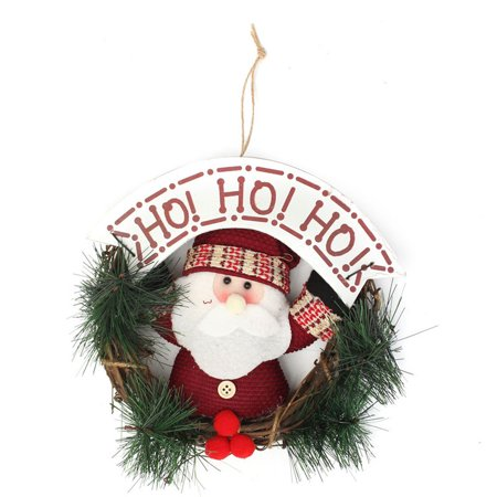 Christmas Santa Claus Elk Xmas Ornaments Rattan Hoop Wreath Garland Door Hanger Christmas Tree Decoration - image 1 of 5
