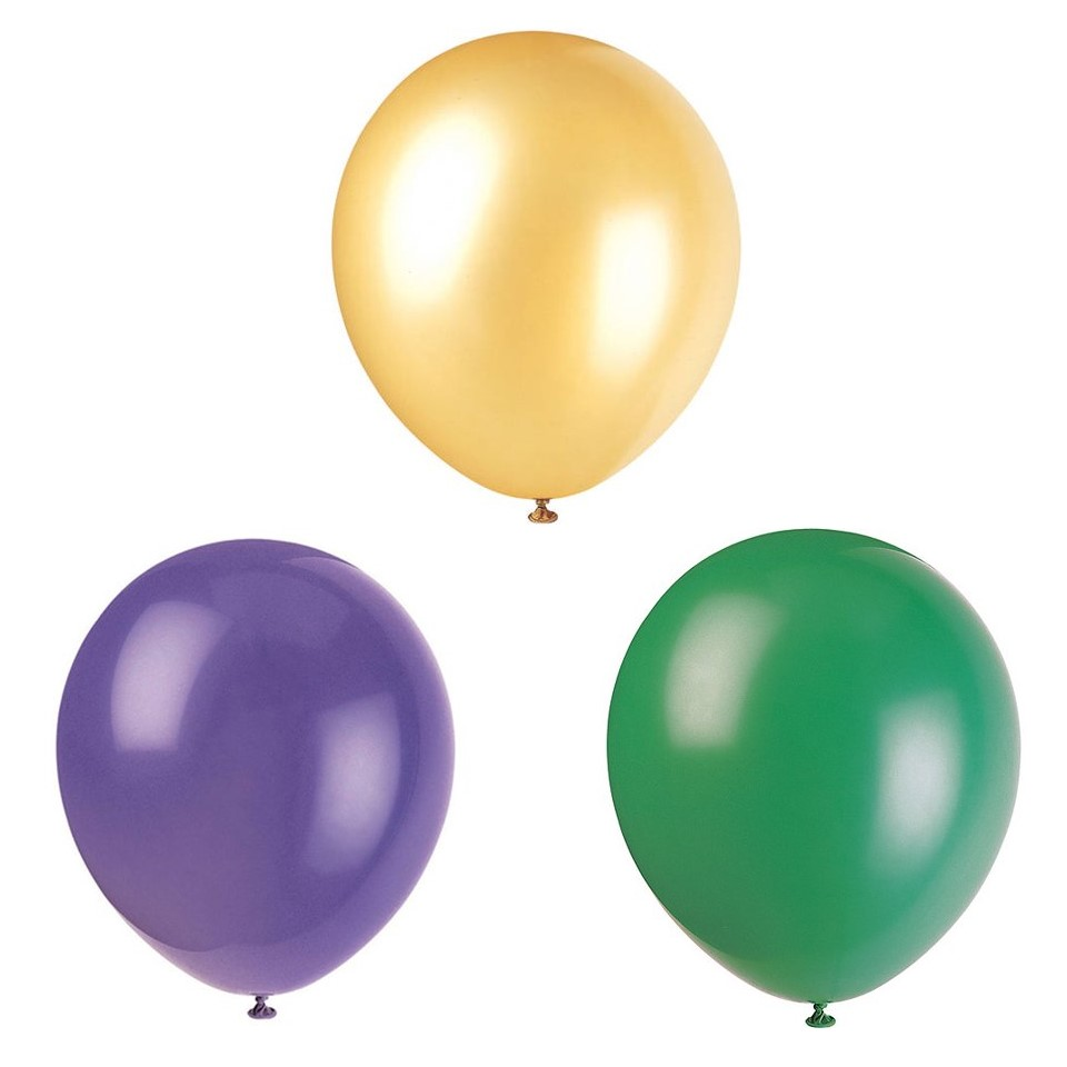 Mardi Gras Latex Balloons Big Bundle, Purple, Gold, & Green, 12in, 216ct