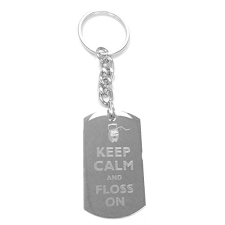 Keep Calm and Floss On - Metal Ring Key Chain - Dental Keychains