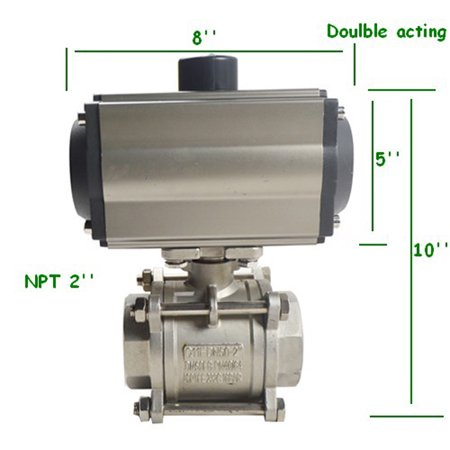 Intbuying NPT 2inch 3- Piece Pneumatic Actuated Ball Valve Double Acting Pneumatic Actuator -