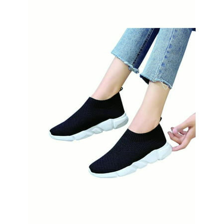 black running trainers : Ladies Womens Comfy Fitness Flat Knitted Sock Sports Running Trainers Shoes