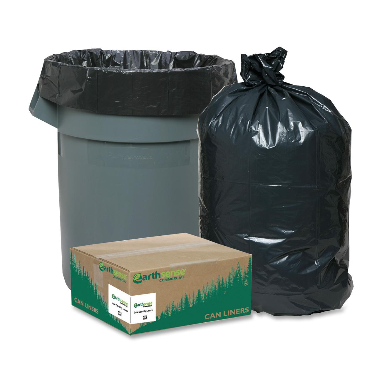 Webster, WBIRNW2410, Reclaim Heavy-Duty Recyled Can Liners, 500 / Carton, Black, 10 gal