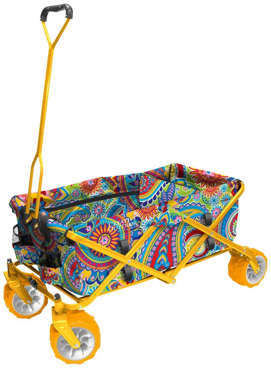 All-Terrain Folding Wagon, (Paisley Yellow) Multipurpose Cart by CREATIVE OUTDOOR DISTRIBUTOR USA