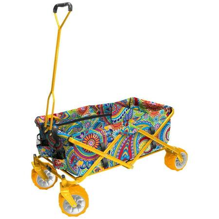 All-Terrain Folding Wagon, (Paisley/Yellow) - Multipurpose Cart