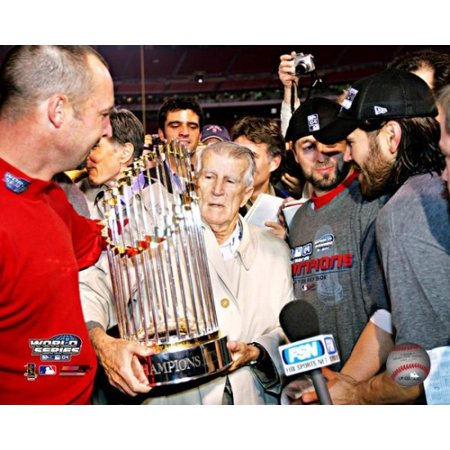 - Johnny Pesky with 2004 World Series Trophy Photo Print