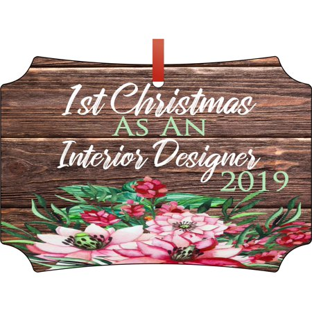 Ornament Interior Design First Christmas as an Interior Designer 2019 Career Job Gift Appreciation 1st Ornaments Double Sided Elegant Aluminum Glossy Christmas Ornament Tree Decoration - Unique Modern