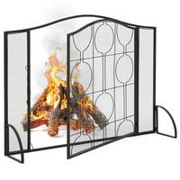 Best Choice Products Single Panel 40x29in  Heavy-Duty Steel Mesh Fireplace Screen, Living Room Decor w/ Locking Door