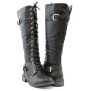 Women Knee High Lace Up Fashion Military Combat Boots Colors Black