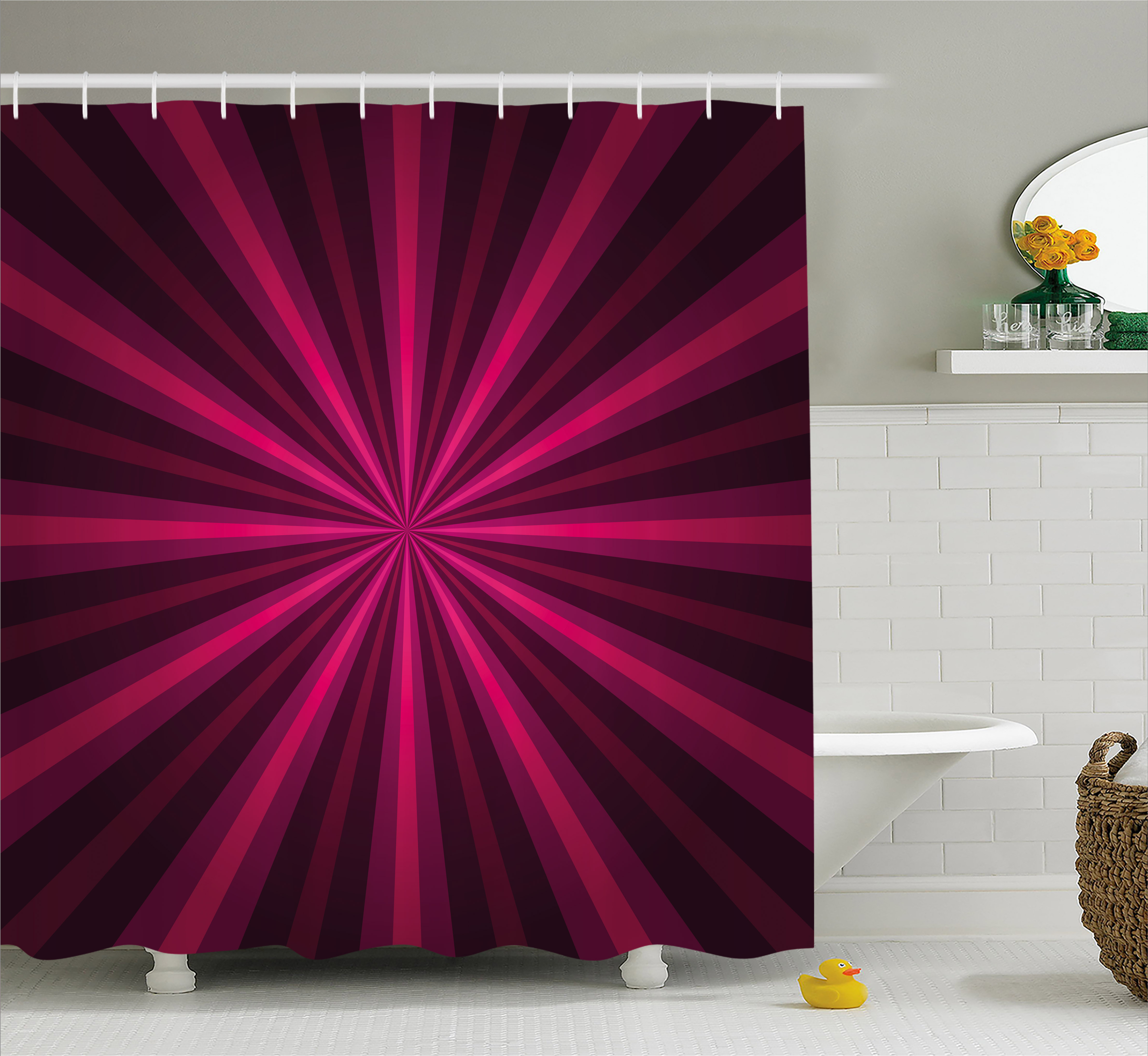 Hot Pink Shower Curtain Abstract Starburst Design Radial Lines Vibrant Colored Beams Futuristic Fabric Bathroom Set With Hooks Fuchsia Purple