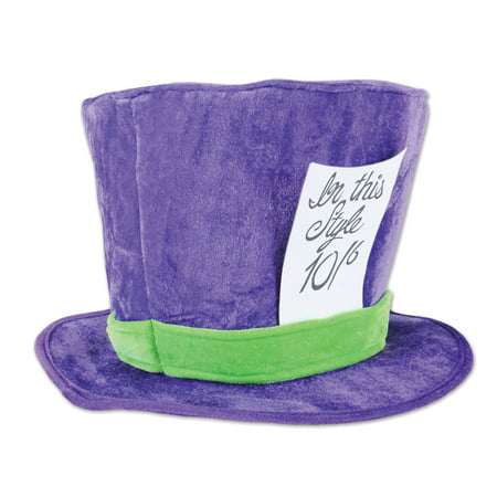 Beistle Soft Plush Mad Hatter Costume Hat, Purple Green, One-Size - Mad Hatter Hats Cheap