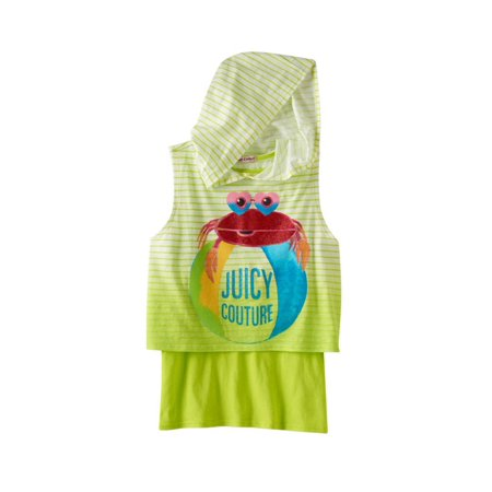 Juicy Couture Girls Glitter Sleeveless Mock Layer Graphic T Shirt