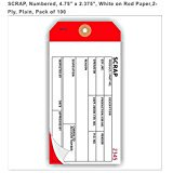 "SCRAP, numbered, 6.25"" x 3.125"", white/white/red paper, 3-ply, plain, pack of 100"