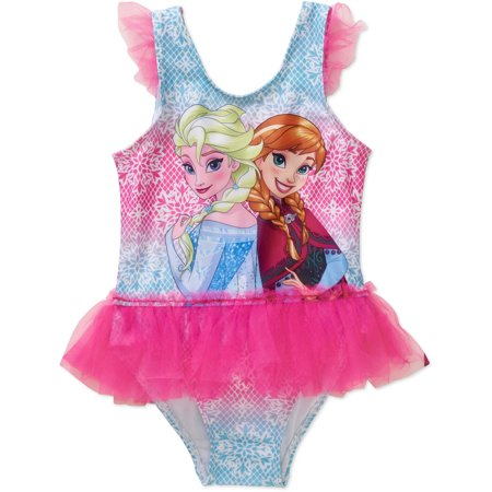Disney Frozen Anna And Elsa Toddler Girl Tutu 1 Piece Swimsuit