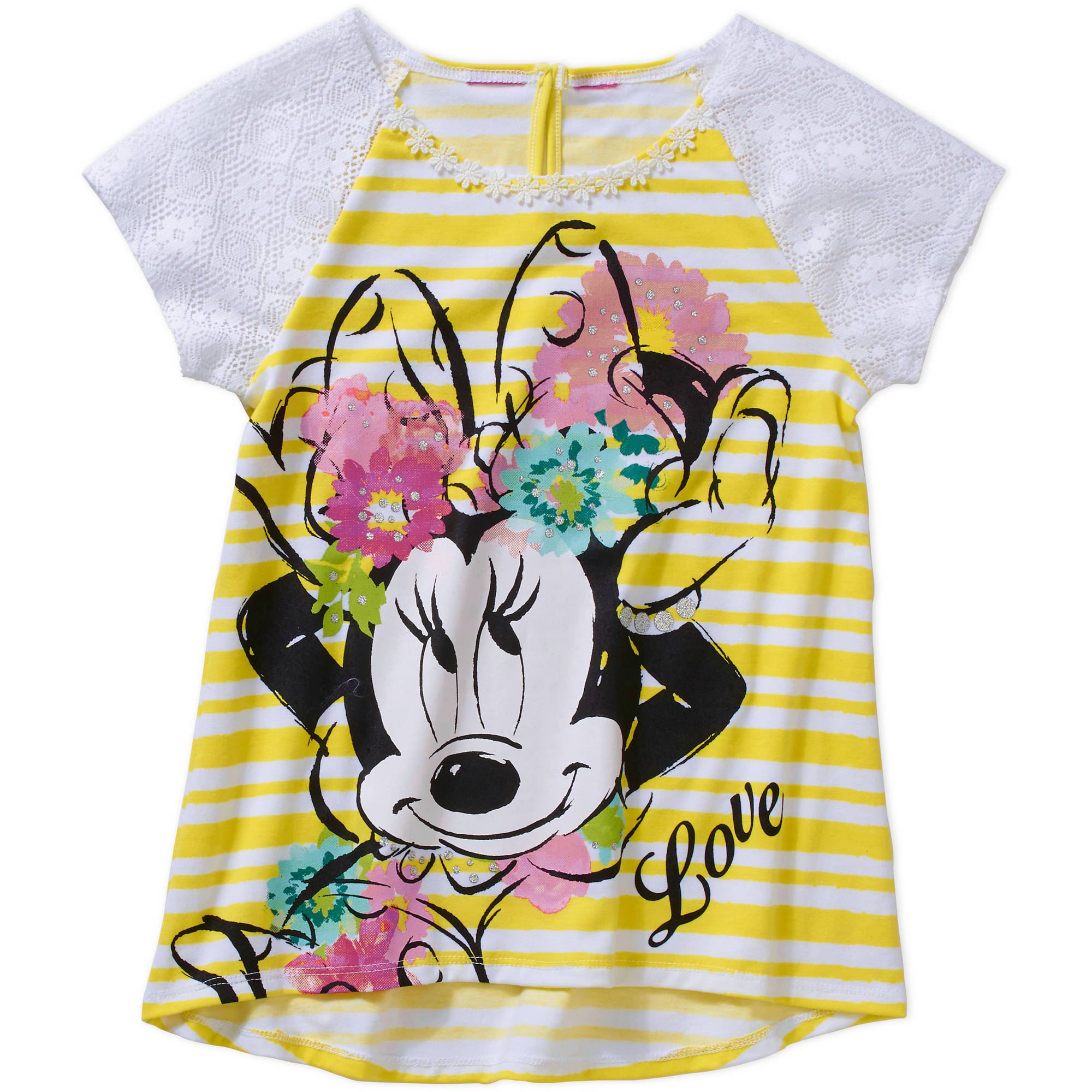 Disney Minnie Mouse Girls' Crochet Lace Sleeve Graphic Top