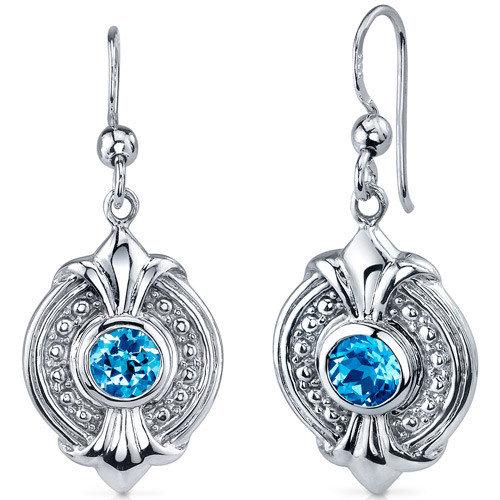 Oravo Ornate 1.50 Carats Swiss Blue Topaz Round Cut Dangle Earrings in Sterling Silver