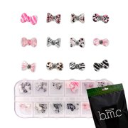 BMC 60pc Clear Design Acrylic Bows DIY 3D Nail Art Cabochon Stud Decoration Set