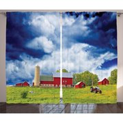 Country Curtains 2 Panels Set, Landscape Scenery View Warehouse Barn Clear Clouds Fields Photo, Window Drapes for Living Room Bedroom, 108W X 63L Inches, Blue White Red Aplle Green, by Ambesonne