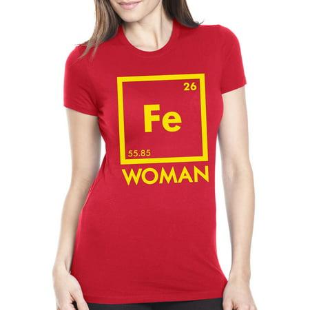 Women's Chemistry Iron Woman T Shirt Cute Science Shirt Superhero Tee - Superhero Women