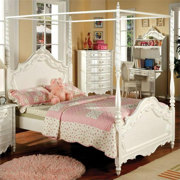 Furniture Of America Minerva Wood Twin Canopy Bed In Pearl Off White Walmart Com Walmart Com