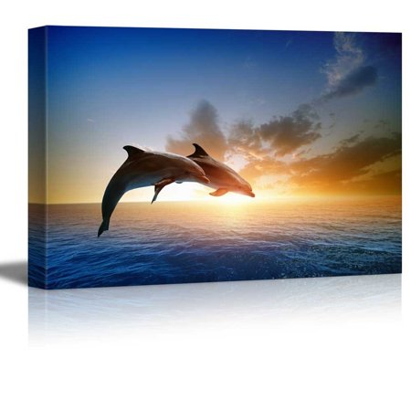 2 Canvas Wall Decor (wall26 - Two Jumping Dolphins at Sunset - Canvas Art Wall Decor - 32