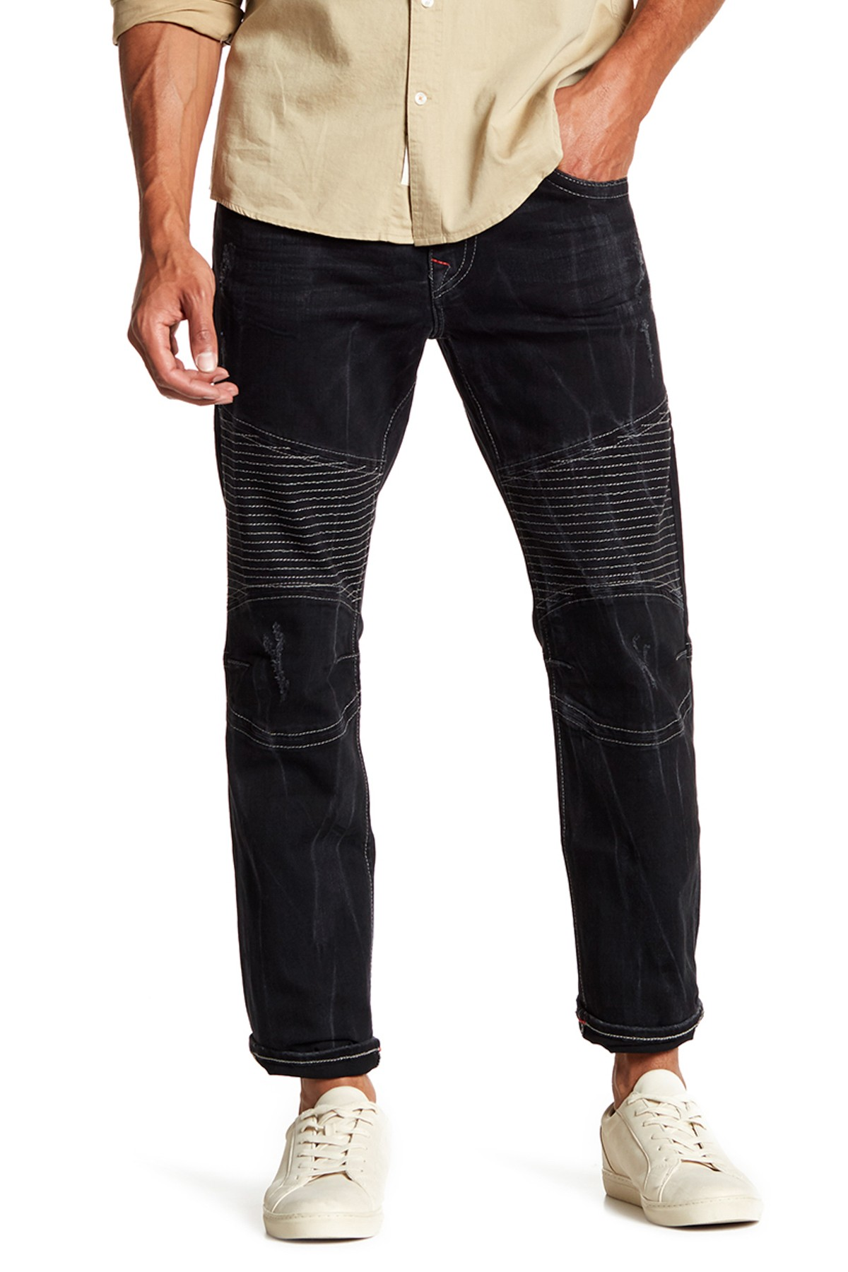 True Religion Men's Skinny Moto Grey SN Red Jeans