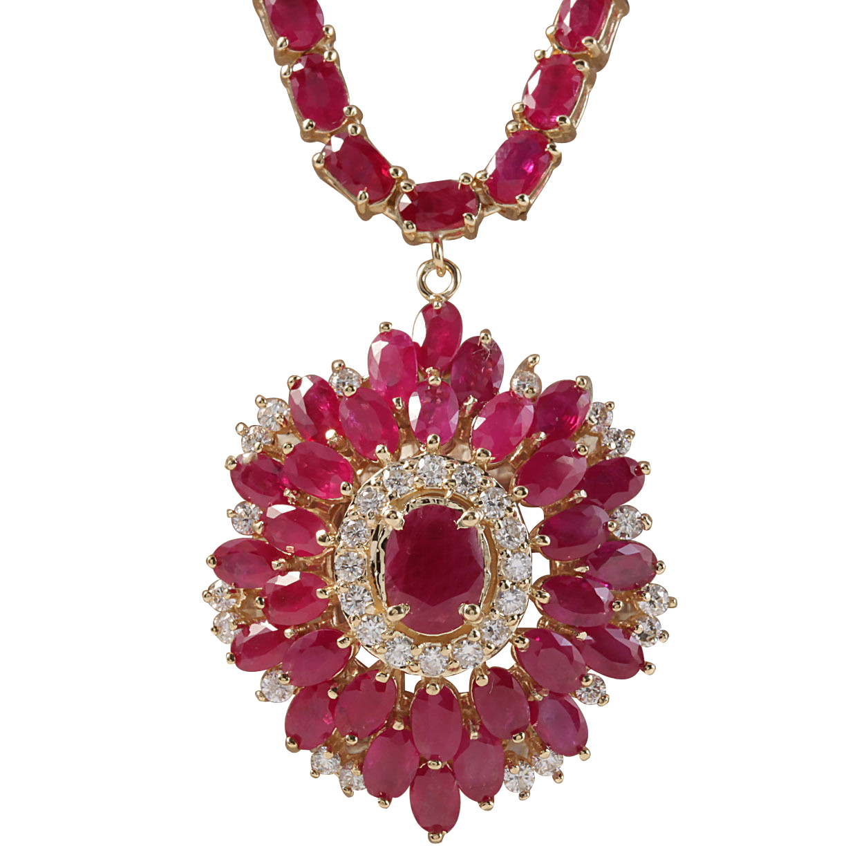 35.62CTW Natural African Ruby And Diamond Necklace In 14K Yellow Gold by