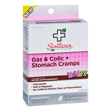Similasan Baby Gas And Colic Plus Stomach Cramps Quick Dissolving Tablets, 135 (Best Over The Counter For Stomach Flu)