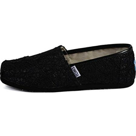 0fbf7a61dc35 TOMs Girls Alpargata Slip on Sneakers (Infant/Toddler/Big Kid), Black  Crochet Glitter, 1 M US Big Kid (3.5 M US Big Kid)
