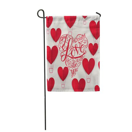 NUDECOR Cut Red Valentine Hearts Abstract Composition Love Lettering Calligraphy Garden Flag Decorative Flag House Banner 28x40 inch - image 1 of 1