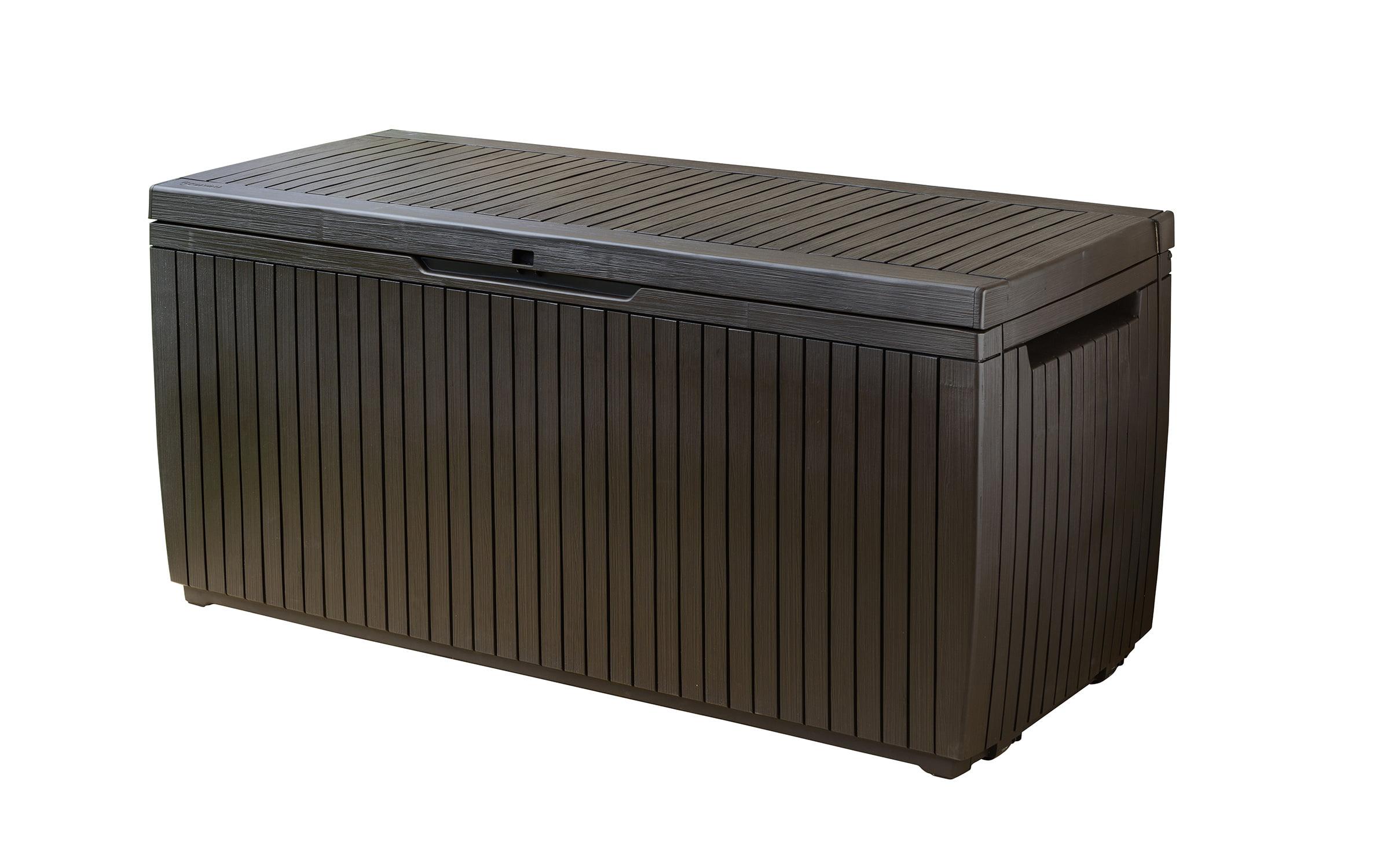 Keter Springwood 80 Gallon Plastic Deck Box, Resin Patio ...