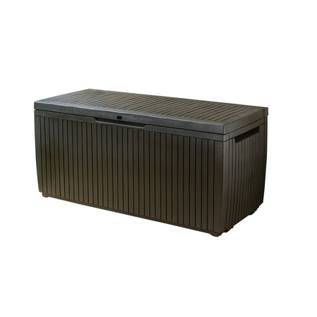 Keter Springwood 80 Gallon Plastic Deck Box Resin Patio Storage Bench
