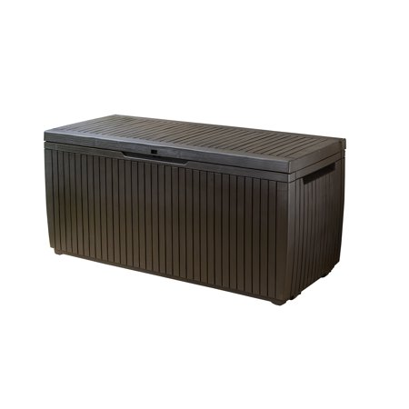 Image of Keter Springwood 80 Gallon Plastic Deck Box, Resin Patio Storage Bench Box