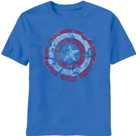 Captain America Glass Shield Shatter Sky Diver Blue Mens T Shirt