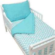 TL Care Cotton Percale Toddler Bedding Set, Aqua Sea Wave
