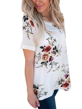 133a22f385c Product Image DYMADE Women s Short Sleeve Floral Printed T-Shirt Summer  Casual Tops Blouse