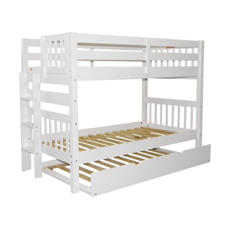 Bedz King Bunk Beds Twin over Twin Mission Style with End Ladder and a Twin Trundle White