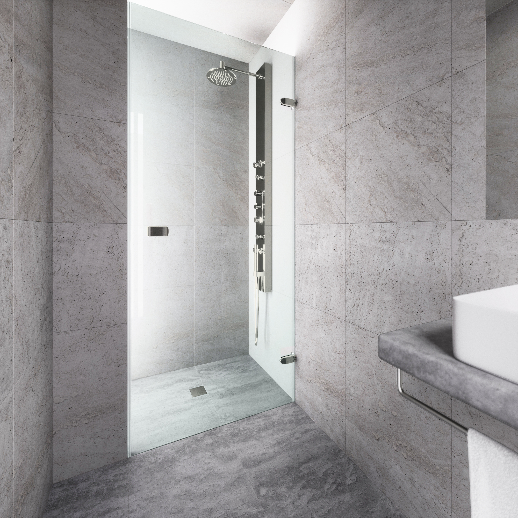"""VIGO Tempo 24"""" Adjustable Frameless Shower Door with Clear Glass and Stainless Steel Hardware"""