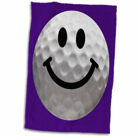 - 3dRose Smiley face golf ball - Happy white golfball - Golfer gift - Smilie on dark blue purple background - Towel, 15 by 22-inch